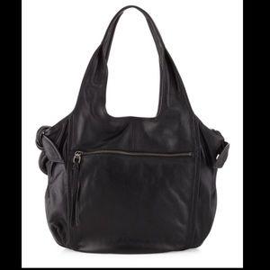 KOOBA Carmine Black Pebbled Leather Hobo Bag